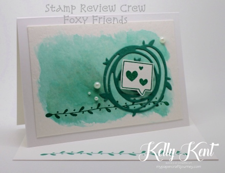 Stamp Review Crew - Foxy Friends stamp set. Watercolour Notecard - Emerald Envy. Kelly Kent - mypapercraftjourney.com.