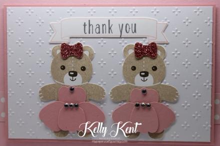 Ultimate Pink Blog Hop - Ballerina Bears. Kelly Kent - mypapercraftjourney.com.