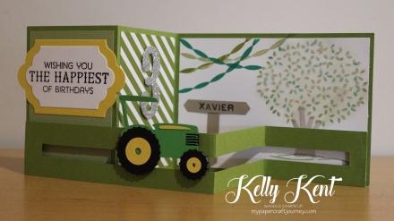 Z-Fold Sliding Tractor Card. Kelly Kent - mypapercraftjourney.com.