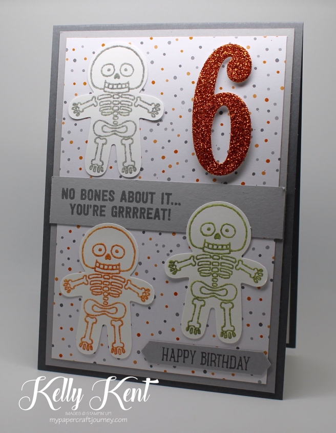 Cookie Cutter Halloween - Glow-in-the-dark Skeleton Birthday card. Kelly Kent - mypapercraftjourney.com.