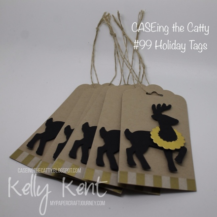 CASEing the Catty #99 - Holiday Tags. Santa's Reindeer. Kelly Kent - mypapercraftjourney.com