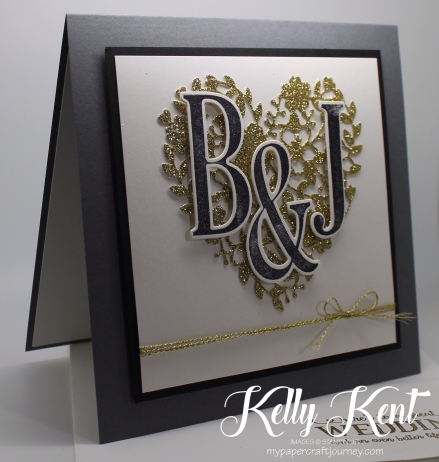 Monogrammed Wedding Card. Kelly Kent - mypapercraftjourney.com.