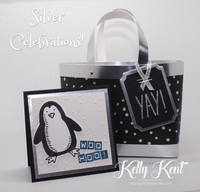 Silver Celebrations - Box in a Bag silver gift set. Kelly Kent - mypapercraftjourney.com.