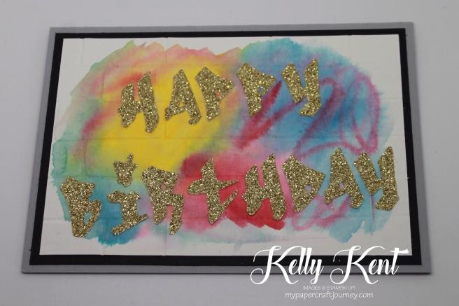 "Just Add Ink #333 - Just Add ""G"". Watercolour Graffiti Wall. Kelly Kent - mypapercraftjourney.com."