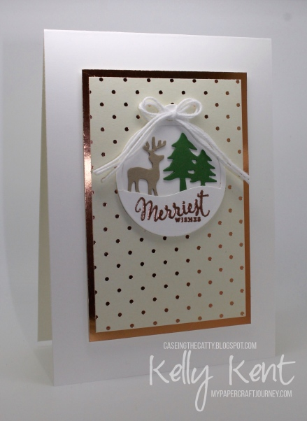 CASEing the Catty #100 - Presents & Pine Cones. Merriest Wishes tag cards. Kelly Kent -mypapercraftjourney.com.