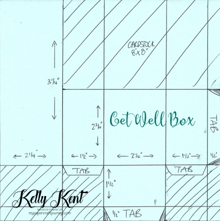 Get Well Gift Box Measurements. Kelly Kent - mypapercraftjourney.com.