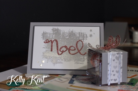 Merry Christmas - Silver & Pink Glitter Noel Card.  Kelly Kent - mypapercraftjourney.com.