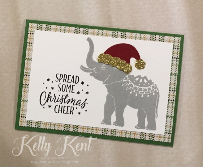 Lucky Elephant Christmas Card. Kelly Kent - mypapercraftjourney.com.