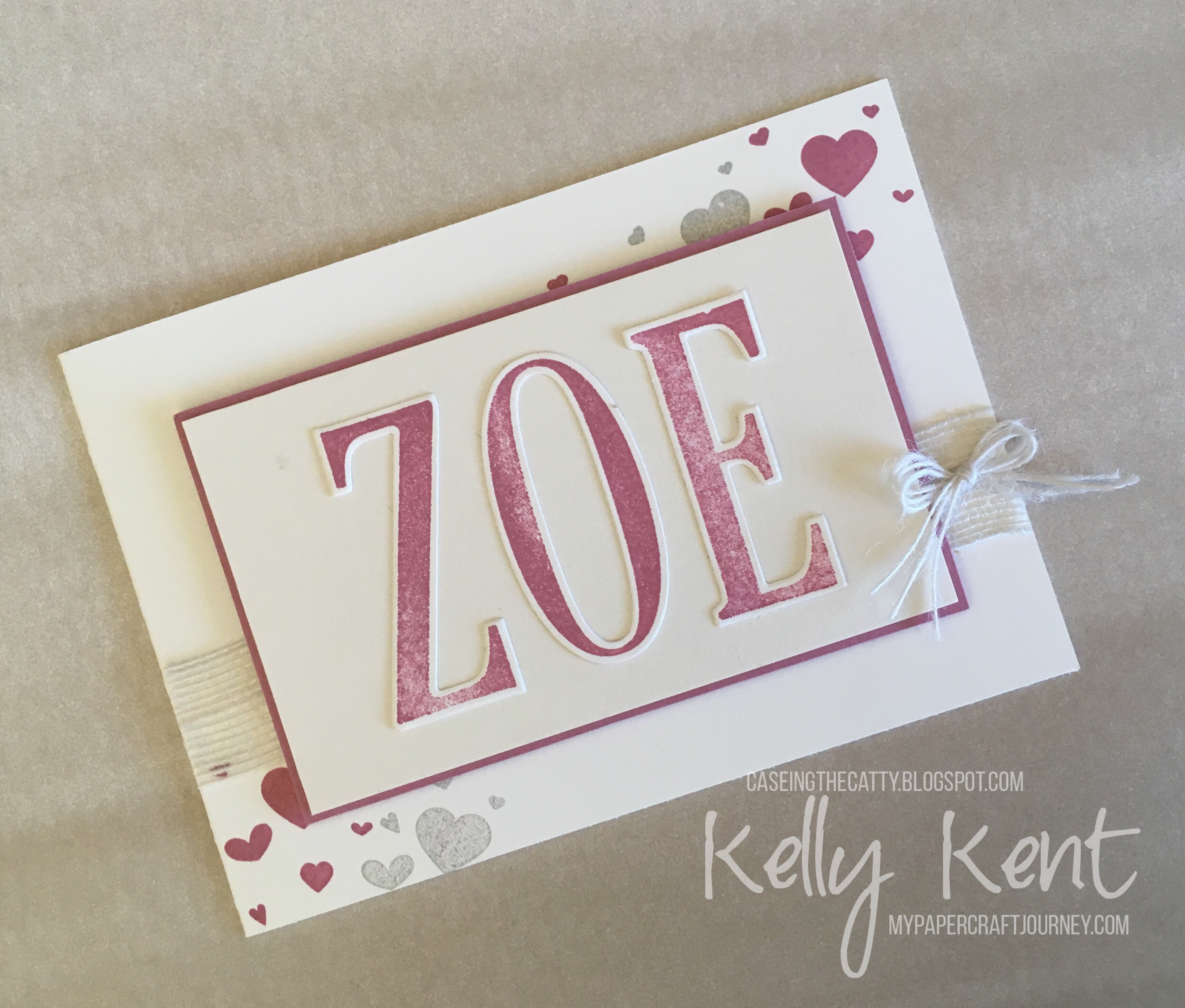 CASEing the Catty #109. Large Letters & Letters for You baby card. Kelly Kent - mypapercraftjourney.com.