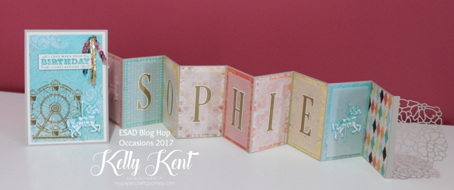 ESAD Blog Hop - 2017 Occasions Catalogue. Personalised Concertina Card - Cupcakes & Carousels Suite. Kelly Kent - mypapercraftjourney.com.