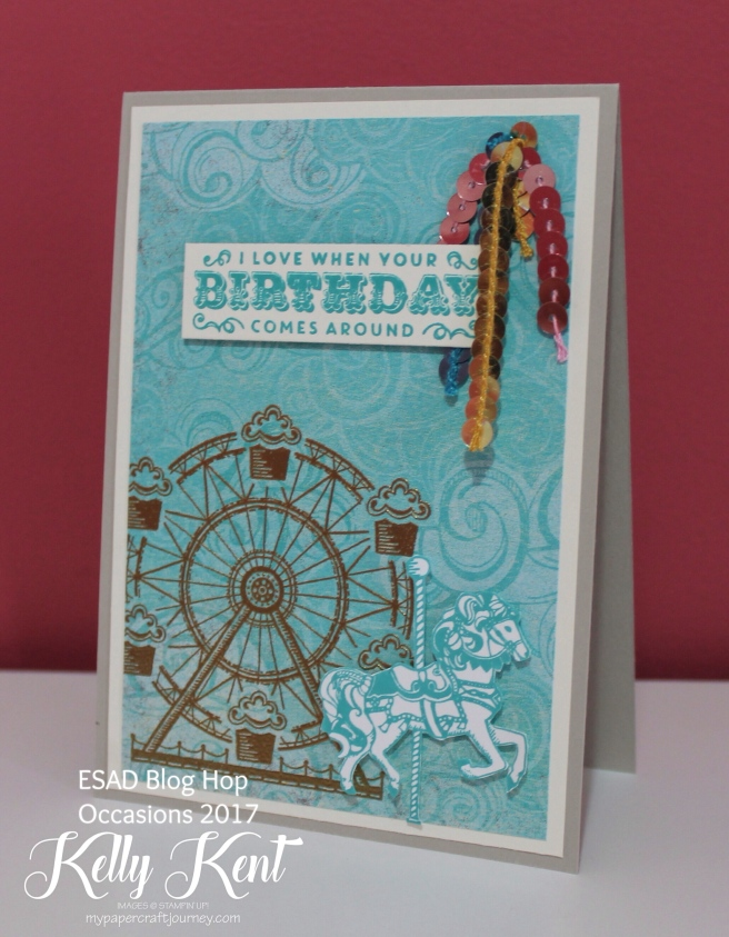 ESAD Blog Hop - 2017 Occasions Catalogue. Cupcakes & Carousels. Kelly Kent - mypapercraftjourney.com.