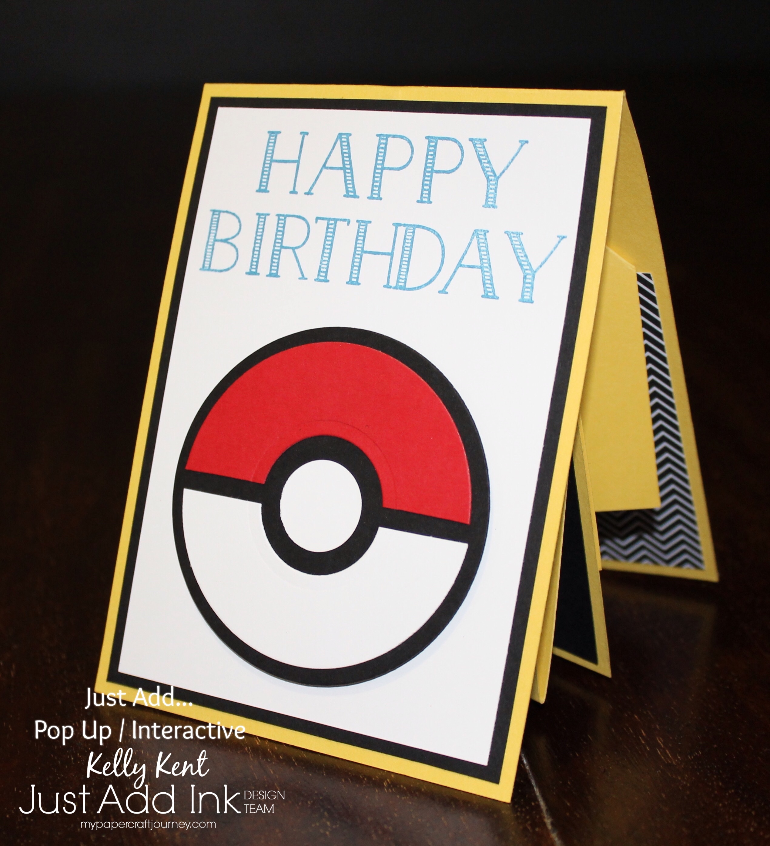 Just Add Ink #343 Twist & Pop Pokemon Card. Kelly Kent - mypapercraftjourney.com.
