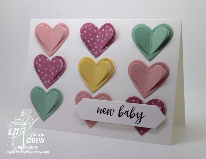 Colour INKspiration #01. New baby heart card. Kelly Kent - mypapercraftjourney.com.