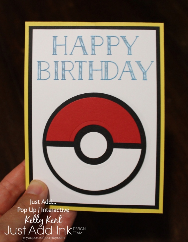 Just Add Ink #343 Twist & Pop Pokemon Card. Kelly Kent - mypapercraftjourney.com.