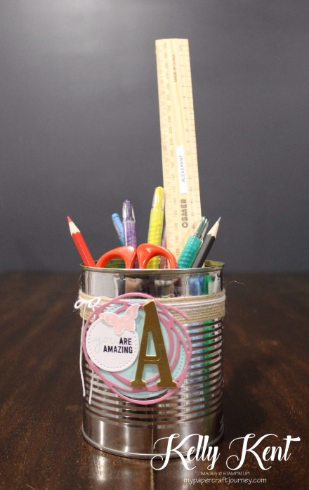 Upcycled School Pencil Tin with Stampin' Up! supplies. Kelly Kent - mypapercraftjourney.com.