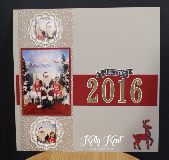 Christmas 2016 - Santa Photos Scrapbook page.  Kelly Kent - mypapercraftjourney.com.
