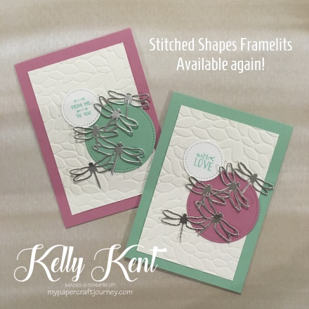 Stitched Shapes - Available again! Dragonfly card. Kelly Kent - mypapercraftjourney.com.