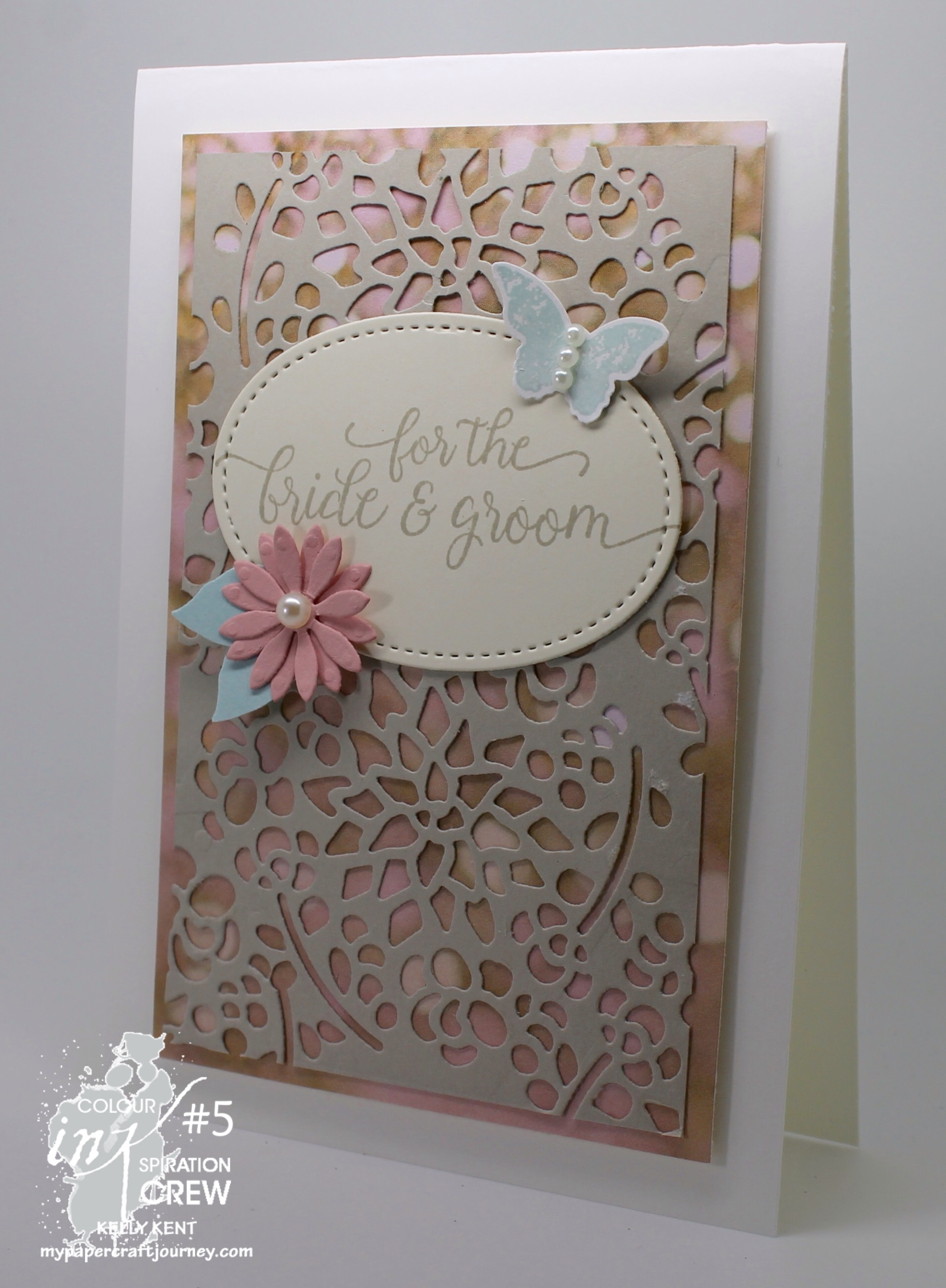 Colour INKspiration #05 - Wedding Card. Kelly Kent - mypapercraftjourney.com.