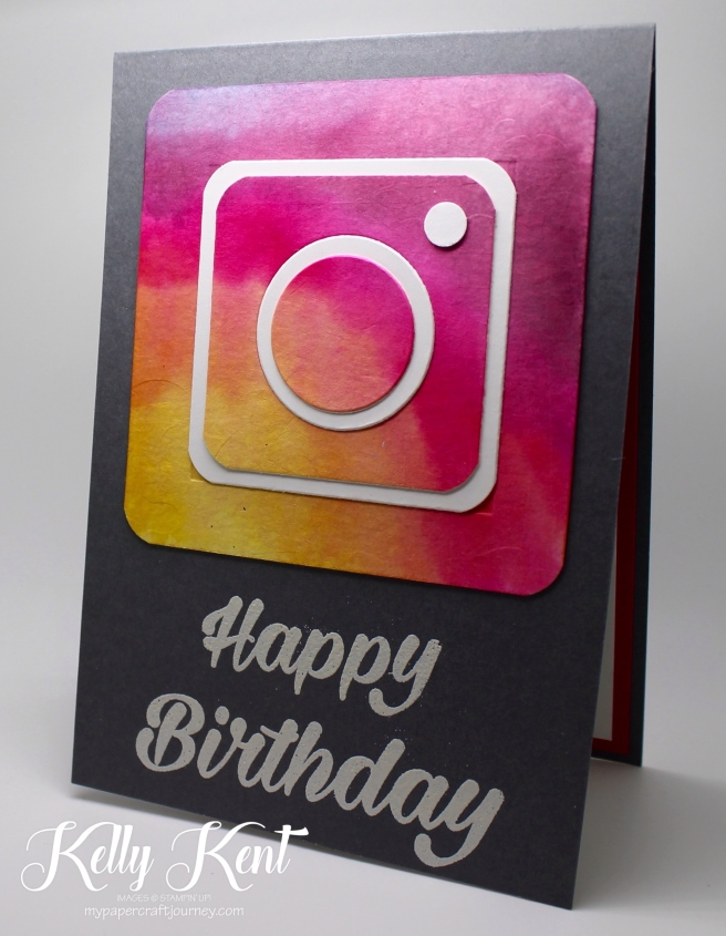 Instagram Watercolour Birthday Card | Kelly Kent - mypapercraftjourney.com.