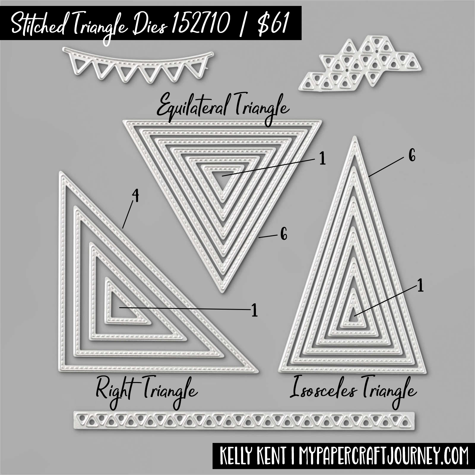 Stitched Triangles Dies with sizing | kelly kent